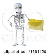 3d Skeleton Has A Yellow Folder