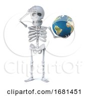 3d Skeleton Holds A Globe Of The Earth