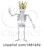 3d Skeleton Wears A Gold Crown