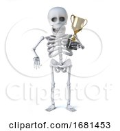3d Skeleton Has Won The Gold Cup Trophy Award