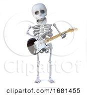 3d Skeleton Plays Electric Guitar