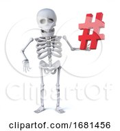 3d Funny Cartoon Skeleton Character Holding A Hash Tag Symbol