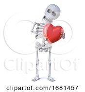 3d Skeleton Is Hugging A Red Heart