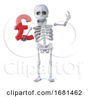 3d Skeleton Holds A UK Pounds Sterling Currency Symbol