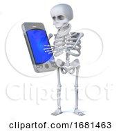 3d Skeleton Uses A Smartphone Tablet