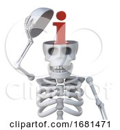 3d Skeleton Has An Information Symbol Inside His Skull