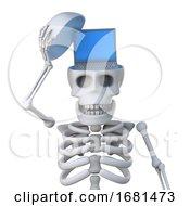 3d Skeleton Has A Laptop Pc Inside His Skull
