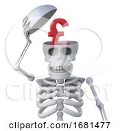 3d Skeleton Has A UK Pounds Sterling Currency Symbol In His Skull