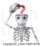 3d Skeleton Has A Question Inside Its Head