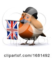 Poster, Art Print Of 3d Robin Businessman With Union Jack