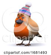 Poster, Art Print Of 3d Robin With Wool Hat