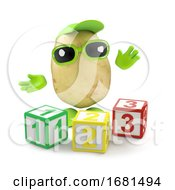 Poster, Art Print Of 3d Potato Learns His Numbers