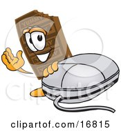 Chocolate Candy Bar Mascot Cartoon Character With A Computer Mouse