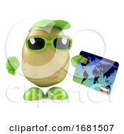 3d Potato Character Pays By Debit Card