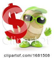 3d Potato With US Dollar Symbol