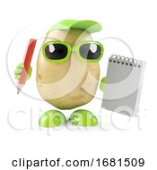 3d Potato Character With Notepad And Pencil