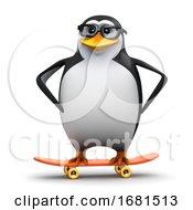 3d Penguin Rides His Skateboard