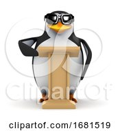 3d Penguin At A Lectern