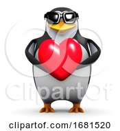 Poster, Art Print Of 3d Penguin Holds A Red Heart