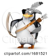 Poster, Art Print Of 3d Penguin With Bow And Arrow