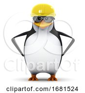 Poster, Art Print Of 3d Penguin Student In Hard Hat