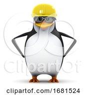 3d Penguin Student In Hard Hat
