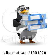 Poster, Art Print Of 3d Penguin Student Filing