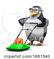 Poster, Art Print Of 3d Penguin Mowing
