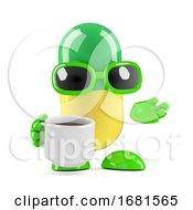 Poster, Art Print Of 3d Pill Has A Coffee Break