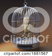 Poster, Art Print Of Cartoon 3d Egyptian Mummy Monster On A Swing In A Birdcage 3d Illustration