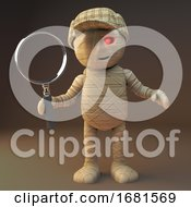 Poster, Art Print Of Cartoon 3d Egyptian Mummy Monster Holding A Magnifying Glass And Holding A Detective Magnifying Glass 3d Illustration