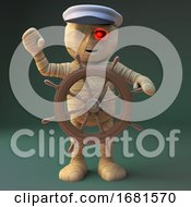 Poster, Art Print Of Cartoon 3d Egyptian Mummy Monster Dressed As A Nautical Sailor Hand Steering At The Helm 3d Illustration