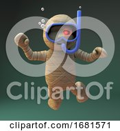 Poster, Art Print Of Cartoon 3d Egyptian Mummy Monster Scuba Diving With A Snorkel And Swimming Mask 3d Illustration