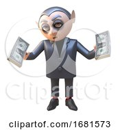 Poster, Art Print Of 3d Cartoon Dracula Vampire Halloween Monster Character Holding Wads Of Us Dollar Currency In Cash 3d Illustration