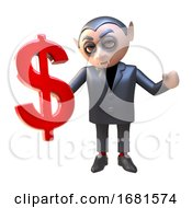 Poster, Art Print Of 3d Cartoon Dracula Vampire Monster Holding A Us Dollar Currency Symbol 3d Illustration