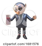 Poster, Art Print Of 3d Cartoon Dracula Vampire Character Drinking A Blood Red Drink From A Glass 3d Illustration