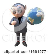 Poster, Art Print Of Cartoon 3d Dracula Vampire Character Holding A Globe Of The Earth 3d Illustration