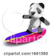 Poster, Art Print Of 3d Panda Surfs