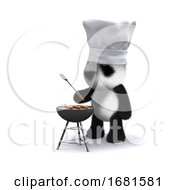 Poster, Art Print Of 3d Baby Panda Bear Cooking A Barbecue