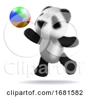 Poster, Art Print Of 3d Baby Panda Bear Plays Beach Ball