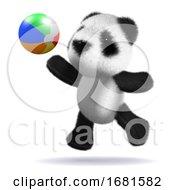 3d Baby Panda Bear Plays Beach Ball