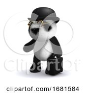 Poster, Art Print Of 3d Panda Bear Businessman