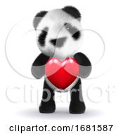Poster, Art Print Of 3d Baby Panda Bear Hugs A Heart