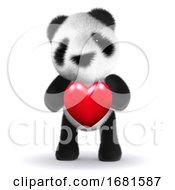 3d Baby Panda Bear Hugs A Heart