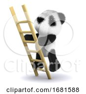 Poster, Art Print Of 3d Ladder Panda