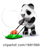Poster, Art Print Of 3d Panda Mows The Lawn
