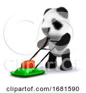 3d Panda Mows The Lawn
