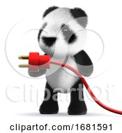 Poster, Art Print Of 3d Baby Panda Bear With A Power Cord
