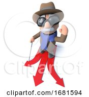 Poster, Art Print Of Funny 3d Cartoon Blind Man Character Choosing Which Direction To Travel