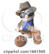 3d Funny Cartoon Blind Man Character Holding An Auction Gavel